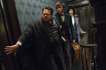 Animali fantastici e dove trovarli - (L to R): Dan Fogler 'Jacob Kowalski', Eddie Redmayne 'Newt Scamandro' e Katherine Waterston 'Porpentina (Tina) Goldstein' in una foto di scena - Photo Credit: Jaap Buitendijk.